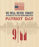 Affiche de vecteur de jour de patriote Nous n'oublierons jamais 11 septembre 9 / 11 avec les Tours jumelles Photographie stock