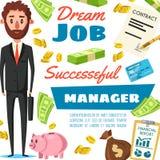 Affiche de vecteur du travail de directeur d'homme d'affaires ou de bureau illustration de vecteur