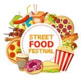 Affiche de vecteur de festival de nourriture et de prêt-à-manger de rue Illustration Libre de Droits