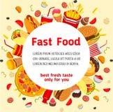 Affiche de vecteur pour le menu de restaurant d'aliments de préparation rapide Illustration Stock