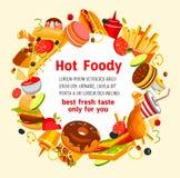 Affiche de vecteur pour le menu de restaurant d'aliments de préparation rapide Images stock