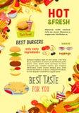 Affiche de vecteur de repas d'hamburgers de restaurant d'aliments de préparation rapide Illustration de Vecteur
