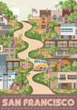 Affiche de vecteur de San Francisco Carte de touristes d'Amérique Les Etats-Unis voyagent bannière avec la rue de Lombard illustration de vecteur