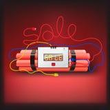 Affiche de vente avec l'horloge d'alarme d'explosifs Photographie stock