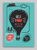 Affiche de vente, bannière ou conception méga d'insecte Images stock