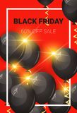 Affiche de vente de Black Friday avec des ballons à air au-dessus de la promotion de vacances d'insecte d'achats de fond et de la Image stock