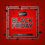 Affiche de vente de Black Friday avec des triangles sur le fond rouge avec la vue carrée Illustration de vecteur Photo stock