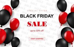 Affiche de vente de Black Friday avec les ballons brillants sur le fond blanc avec le cadre carré Illustration de vecteur illustration libre de droits