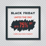 Affiche de vente de Black Friday sur Grey Stripped Background With Square Photos libres de droits