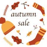 Affiche de vente d'automne de bannière de Web de promo de remise pour des achats saisonniers automnaux de vecteur de feuille d'ér illustration de vecteur