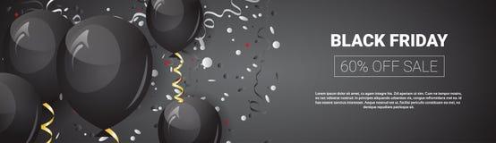 Affiche de vente d'offre spéciale de Black Friday, ballons à air brillants sur la bannière horizontale avec la promotion de vacan Image stock