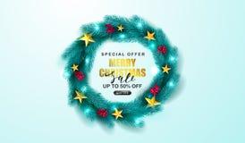 Affiche de vente de Joyeux Noël Guirlande verte de Noël avec la sorbe et les étoiles d'or Approprié aux matériel promotionnels illustration de vecteur
