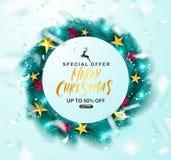 Affiche de vente de Joyeux Noël Guirlande verte de Noël avec la sorbe, les étoiles d'or et la serpentine de vol Approprié à illustration de vecteur
