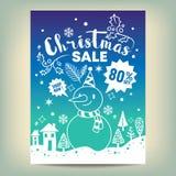 Affiche de vente de Noël avec la bande dessinée tirée par la main blanche photos stock