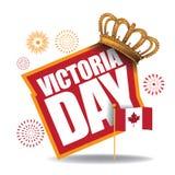Affiche de Victoria Day avec le drapeau et la couronne de Canada Photos libres de droits