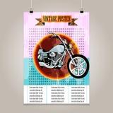 Affiche de vintage avec la haute motocyclette de détail Photographie stock