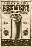 Affiche de vintage de brasserie avec le vecteur de canette de bière illustration libre de droits