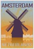 Affiche de vintage d'Amsterdam illustration libre de droits