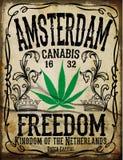 Affiche de vintage d'Amsterdam Images libres de droits