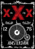 Affiche de vintage d'Amsterdam illustration de vecteur