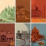 Affiche de vintage d'endroit célèbre de point de repère avec le monument d'héritage dans l'Inde Photo libre de droits