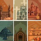Affiche de vintage d'endroit célèbre de point de repère avec le monument d'héritage dans l'Inde Photos libres de droits
