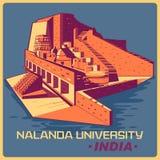 Affiche de vintage d'université de Nalanda en monument célèbre du Bihar d'Inde Photos stock