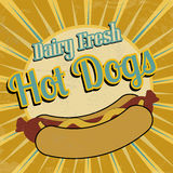 Affiche de vintage de hot-dogs illustration libre de droits