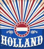 Affiche de vintage de la Hollande vieille avec des couleurs néerlandaises de drapeau Photo libre de droits