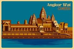 Affiche de vintage de monument célèbre d'Angkor Vat au Cambodge Photographie stock