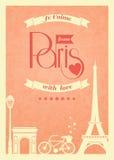 Affiche de vintage de Paris d'amour rétro illustration libre de droits