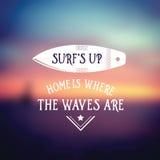 Affiche de vintage de ressac rétro Bannière de vague de plage d'Hawaï Photo stock