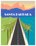 Affiche de vintage de Santa Barbara Illustration de vecteur Photographie stock