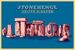Affiche de vintage de Stonehenge en monument célèbre du WILTSHIRE au Royaume-Uni Photos libres de droits