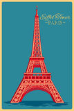 Affiche de vintage de Tour Eiffel en monument célèbre de Paris dans les Frances Photographie stock libre de droits