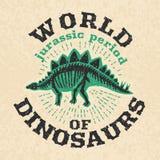 Affiche de vintage des os fossiles du dinosaure Grand squelette Photo stock
