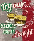 Affiche de vintage du stemware deux avec la tequila Photo stock
