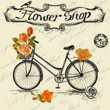 Affiche de vintage pour la conception de fleuriste avec la bicyclette Photographie stock libre de droits