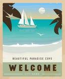 Affiche de voyage de vecteur dans le style de vintage Rétro illustration de voyage pour faire de la publicité Images stock