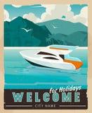 Affiche de voyage de vecteur dans le style de vintage Rétro illustration de voyage pour faire de la publicité Photographie stock