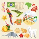 Affiche de voyage de vecteur du Brésil Voyage à l'ensemble coloré du Brésil illustration libre de droits