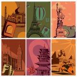 Affiche de voyage de vintage avec le monument de renommée mondiale Image stock