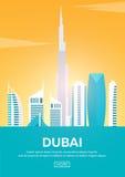 Affiche de voyage vers Dubaï Silhouettes de points de repère Illustration de vecteur Photo stock