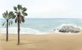 Affiche de vue de bord de la mer Image libre de droits