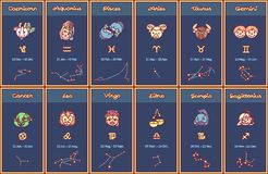 Affiche de zodiaque de bande dessinée de vecteur illustration libre de droits