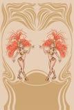 Affiche do vintage com a rainha atrativa do samba Fotos de Stock
