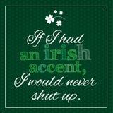 Affiche drôle et inspirée au sujet d'accent irlandais Images stock