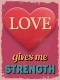 Affiche du jour de Valentine Rétro conception de cru L'amour me donne Stre illustration stock