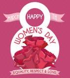 Affiche du jour des femmes avec les roses et les rubans roses, illustration de vecteur Photos libres de droits