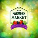 Affiche du marché d'agriculteurs Fond brouillé avec le soleil brillant typo Image stock